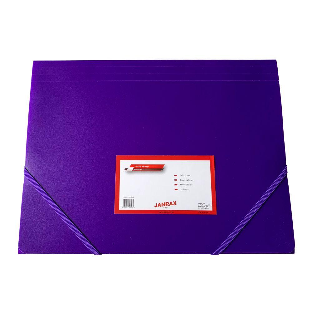 Janrax A4 Purple 3 Flap Folder with Elasticated Closure