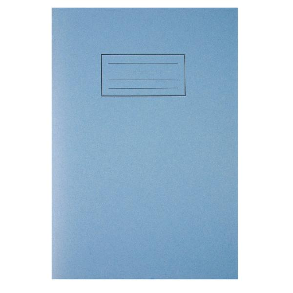 Pack of 100 A4 Blue Exercise Books 80 Pages - Feint Ruled with Margin