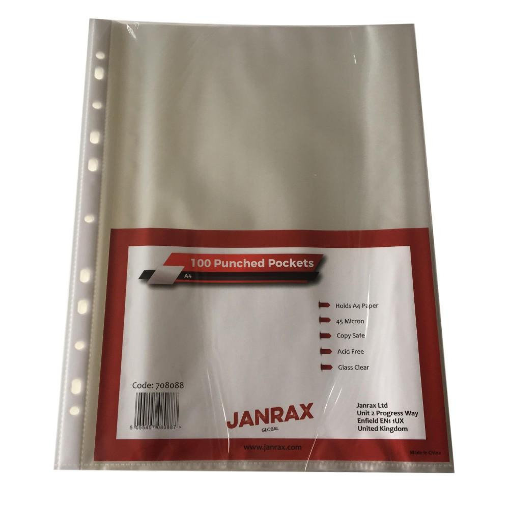 Pack of 100 A4 Glass Clear Punched Pockets by Janrax