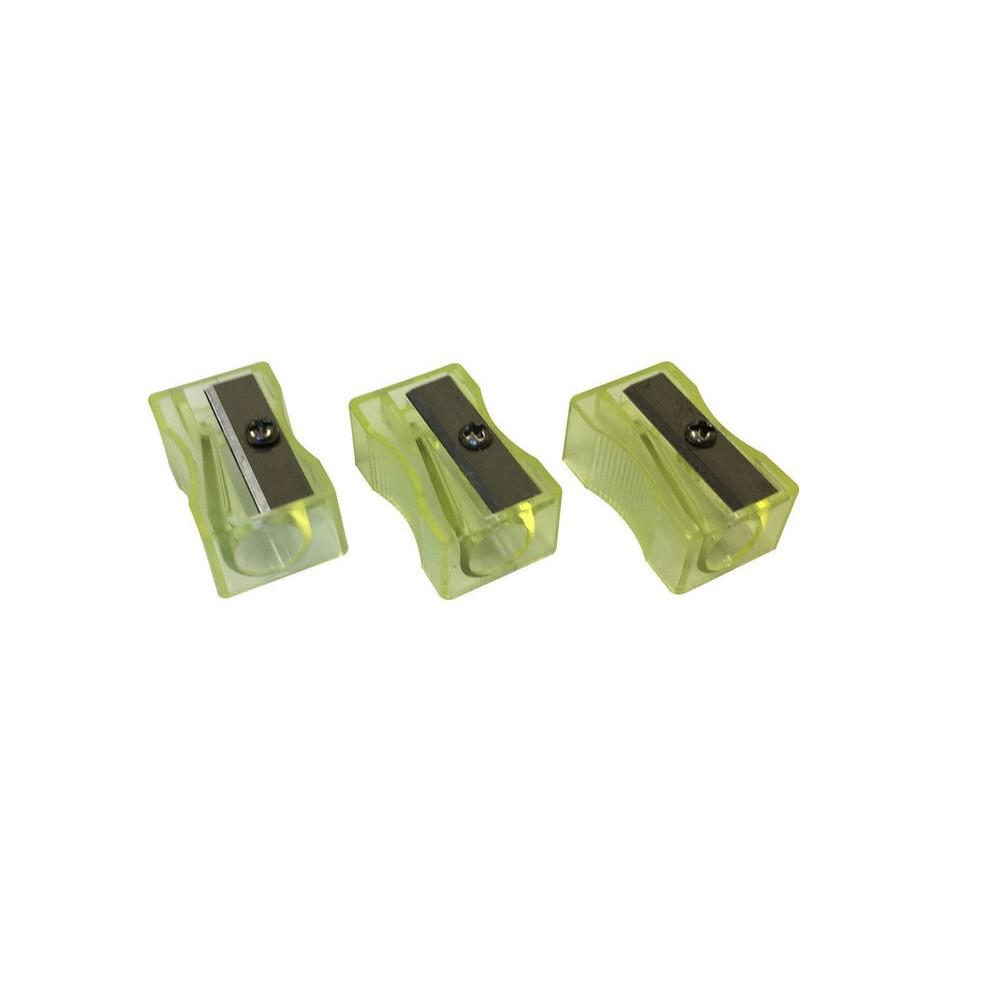 Pack of 100 Yellow Translucent Pencil Sharpeners.