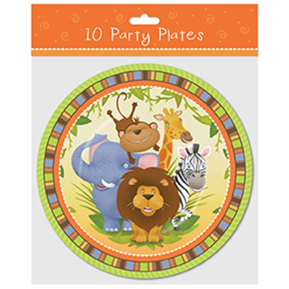 "Pack of 10 9"" Plates Jungle Design"