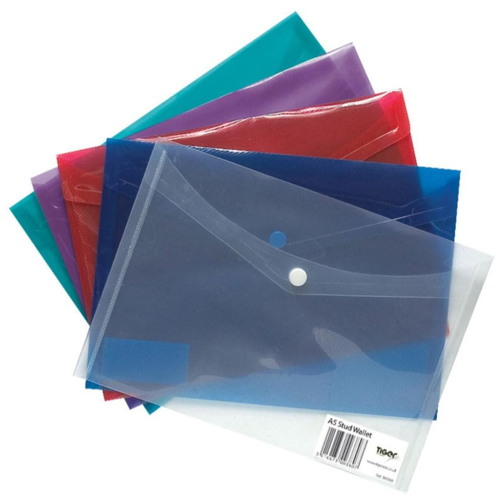 5 x A5 Stud Wallets-Assorted Tints