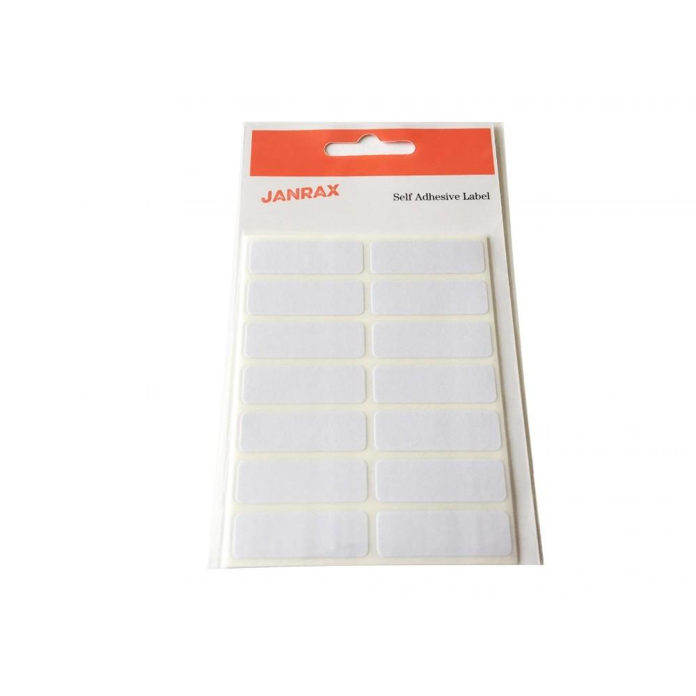 Pack of 98 White 12x38mm Rectangular Labels - Adhesive Stickers