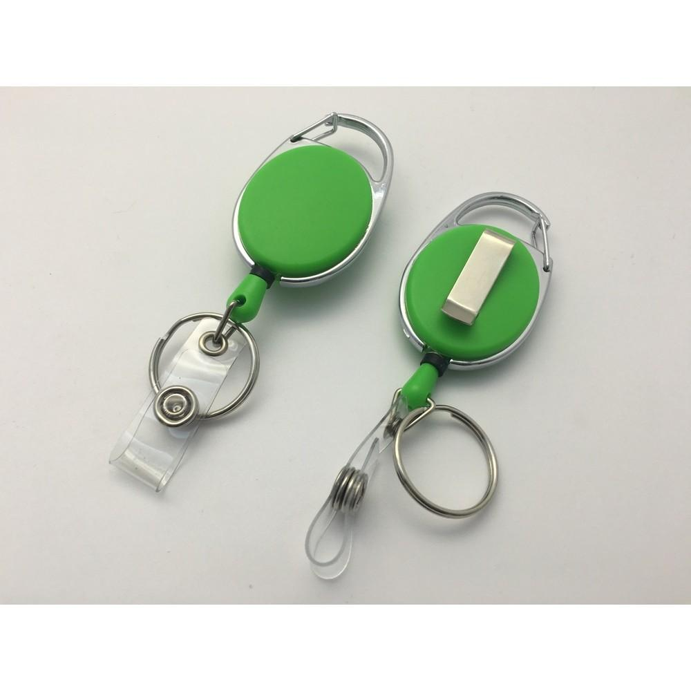 Green Solid Key Reel with Keyring & ID Card Badge Holder