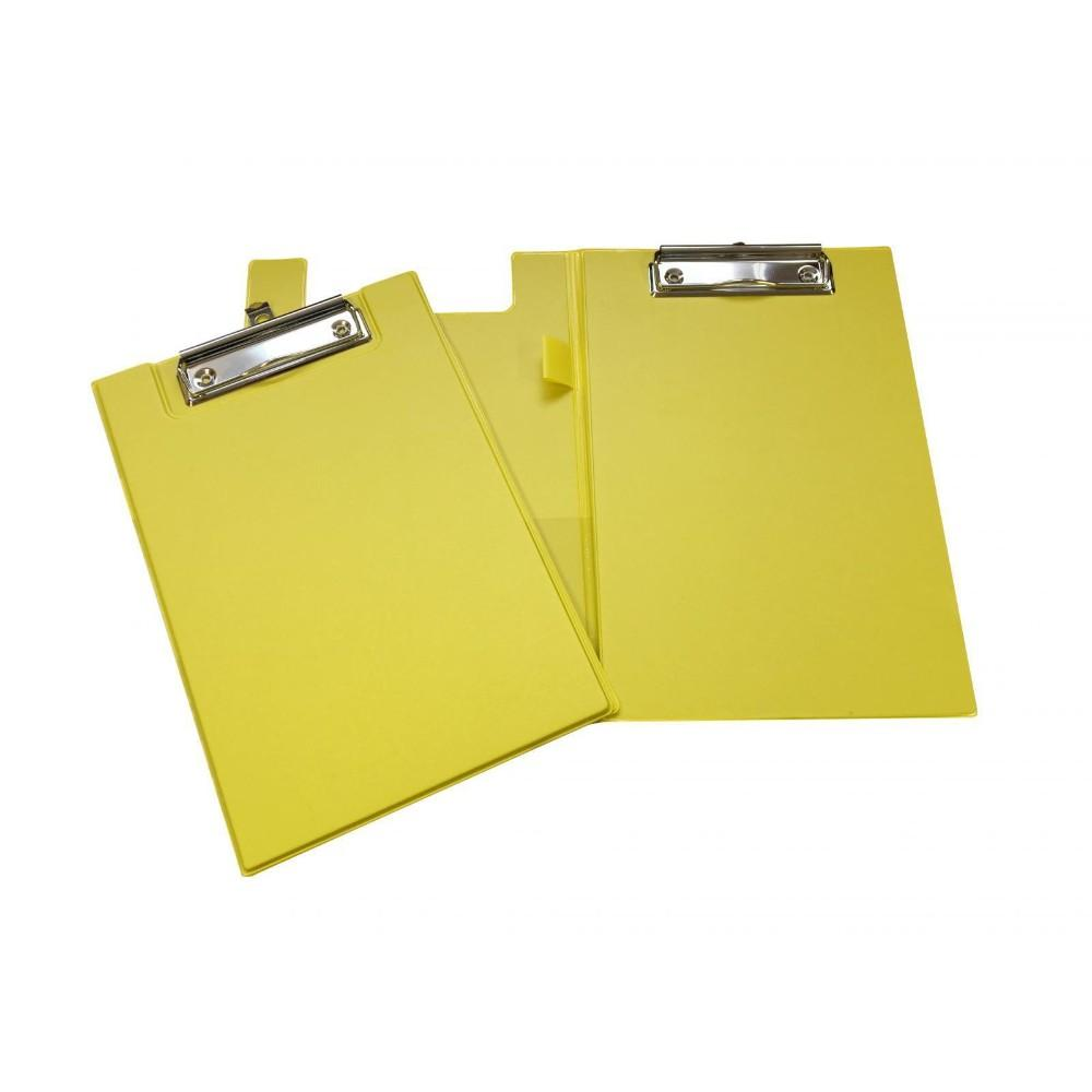 A5 Yellow Foldover Clipboard with Pen Holder