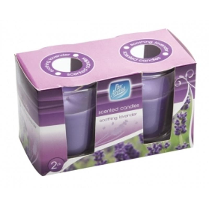 Pack of 2 Pan Aroma Scented Glass Candle - Soothing Lavender