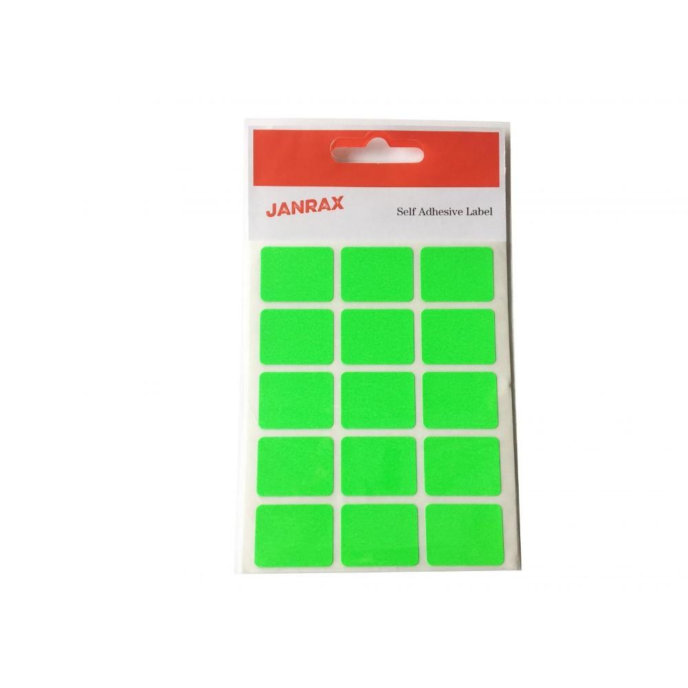 Pack of 60 Fluorescent Green 19x25mm Rectangular Labels - Adhesive Stickers