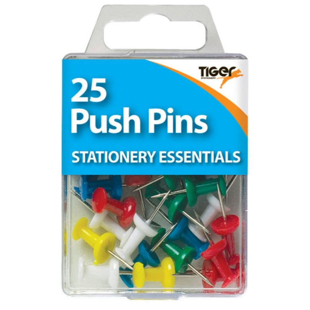 Pack of 25 Coloured Push Pins