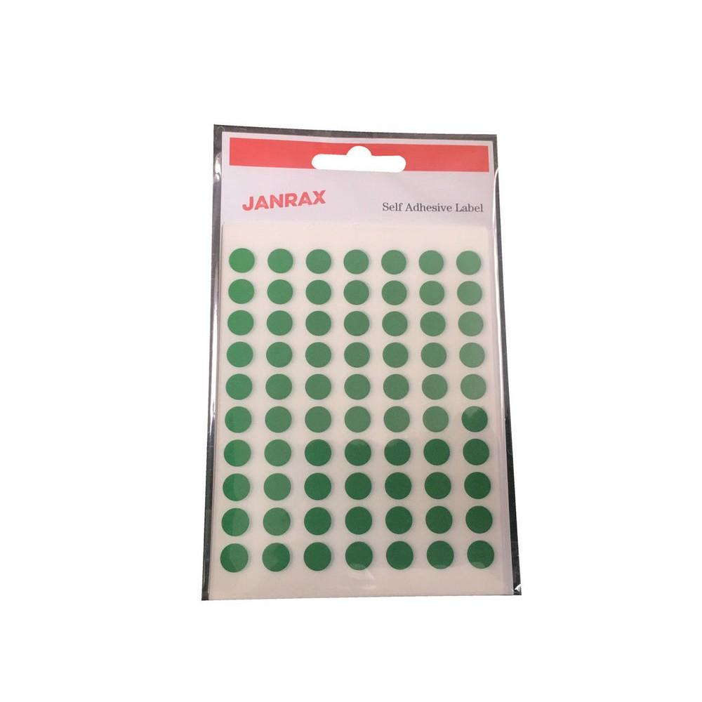 Pack of 560 Green 8mm Round Labels - Stickers