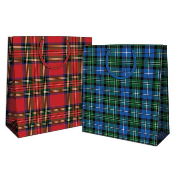 Pack of 12 Medium Tartan Design Gift Bags