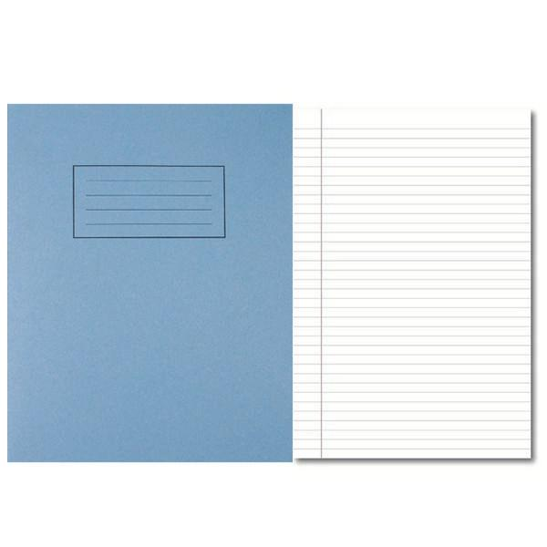 Pack of 100 229x178mm Blue Exercise Books 80 Pages - Feint Ruled with Margin