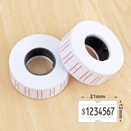 10 Rolls of White Price Labels 21x12mm (5000 Labels total)