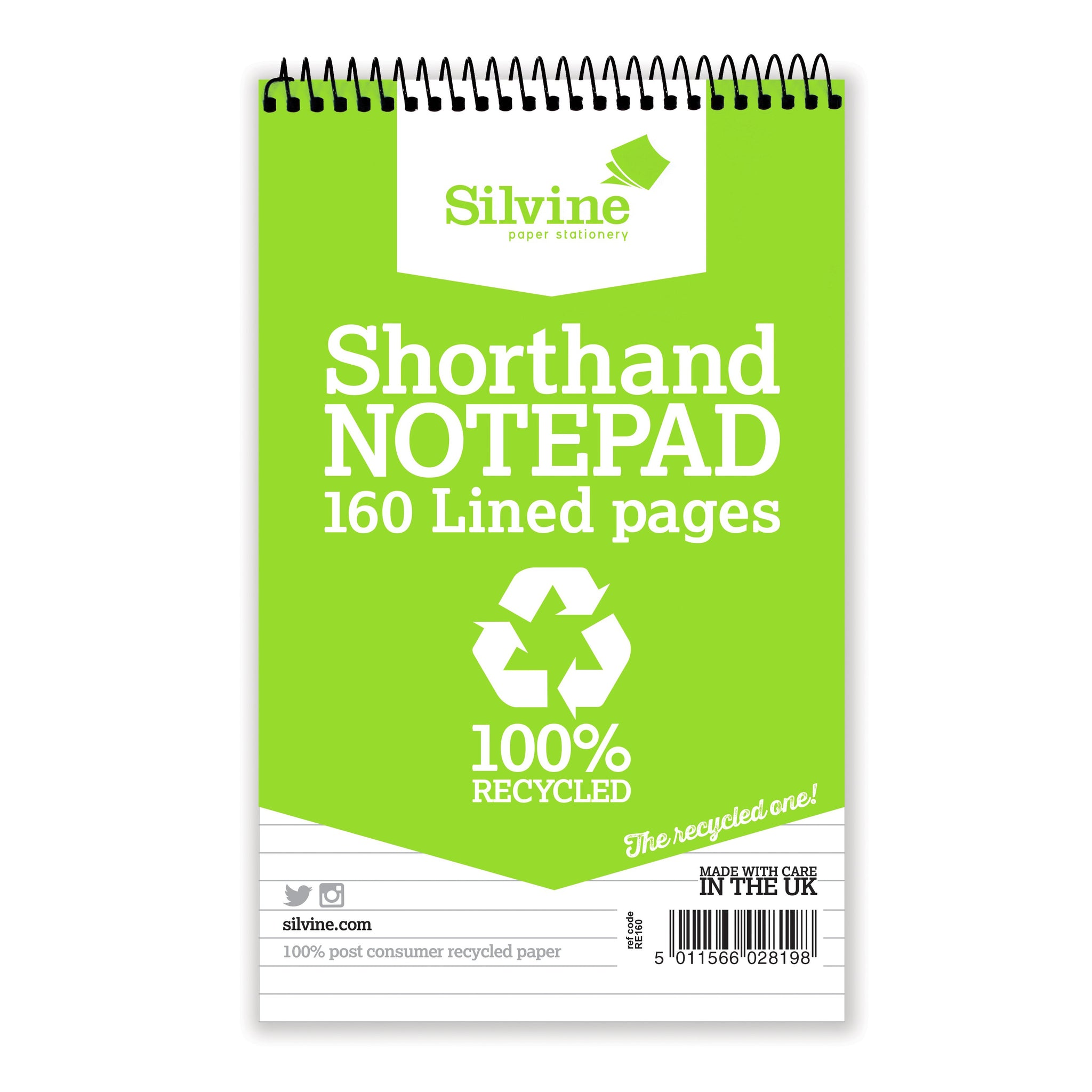 Silvine Shorthand Notebooks 160 Lined Pages 100% Recycled