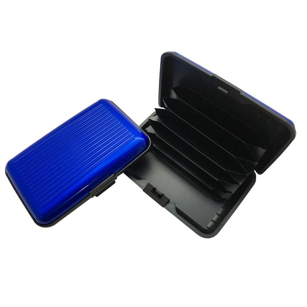 Blue Aluminium Credit Card Holder - Durable and Lightweight