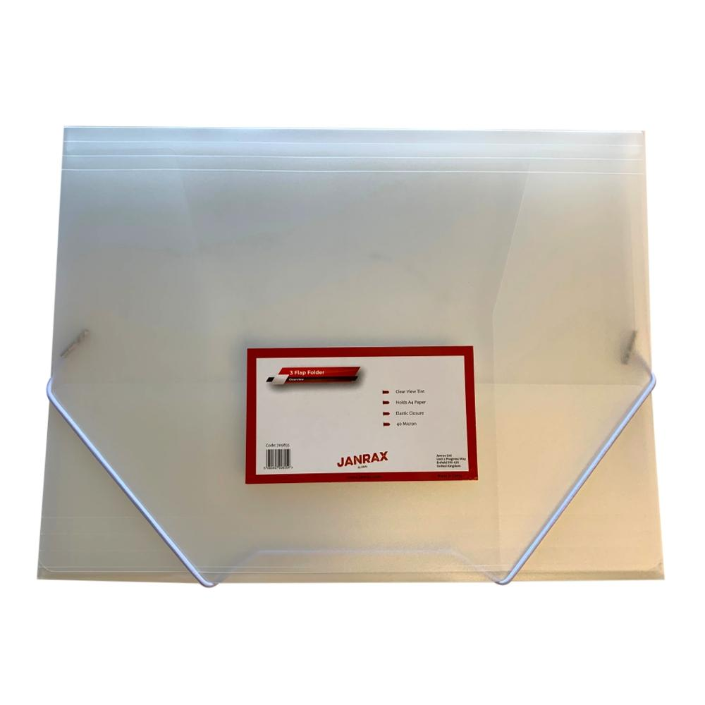 Janrax A4 Clear 3 Flap Folder with Elasticated Closure