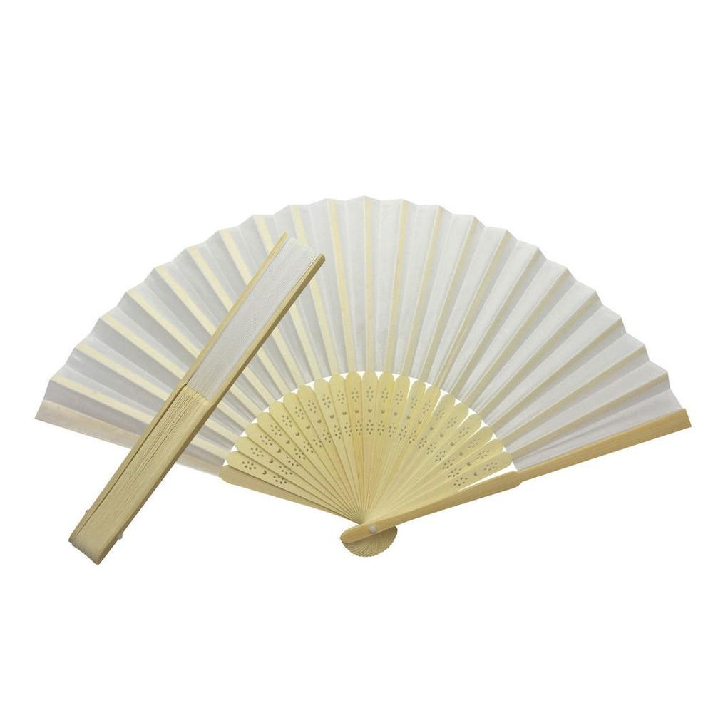 White Fabric Hand Held Bamboo and Wooden Fan