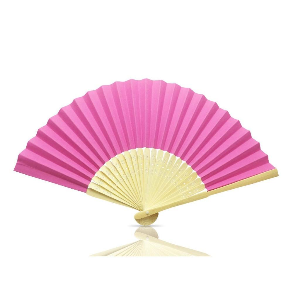 Hot Pink Paper Hand Held Bamboo and Wooden Fan