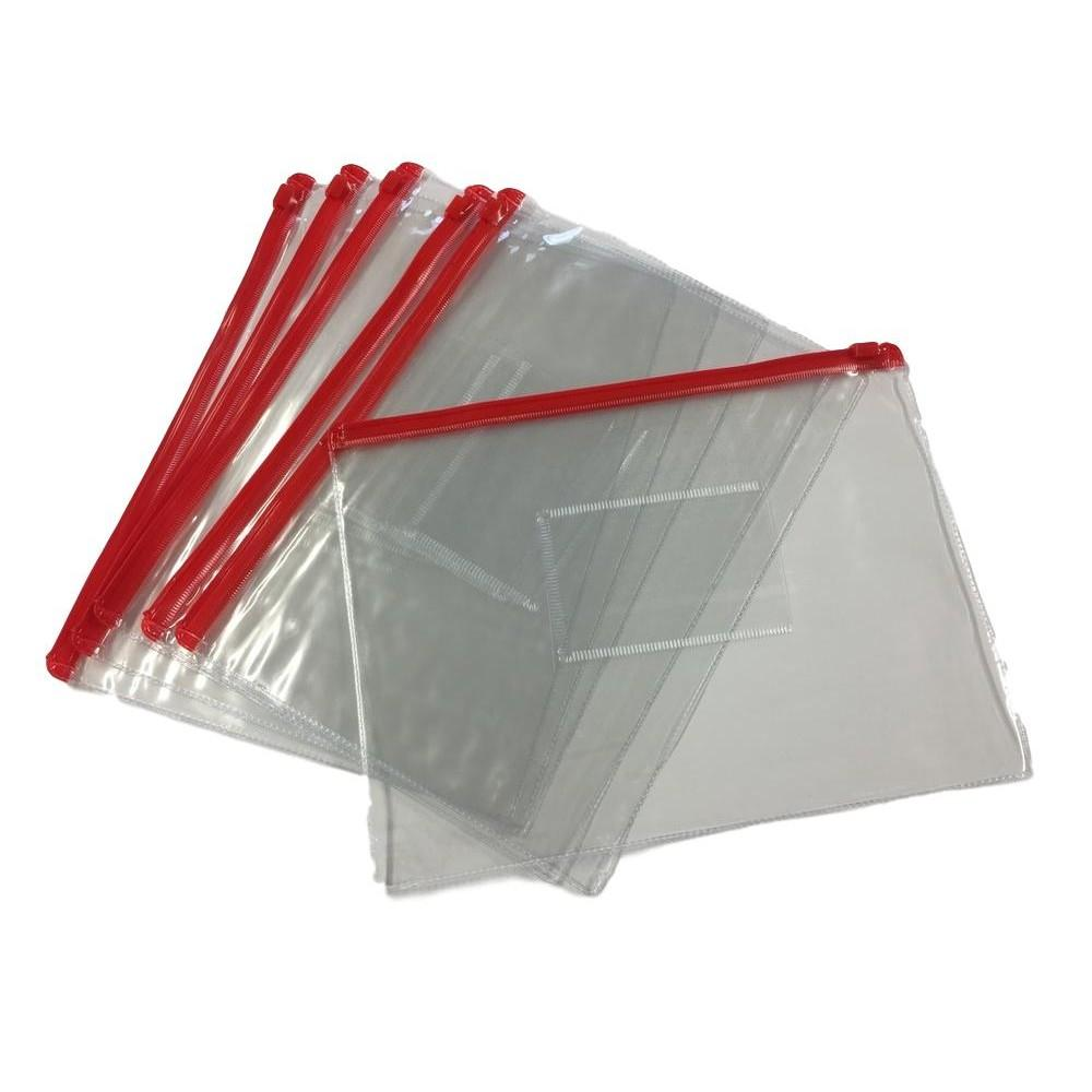 Pack of 12 A5 Red Zip Zippy Bags