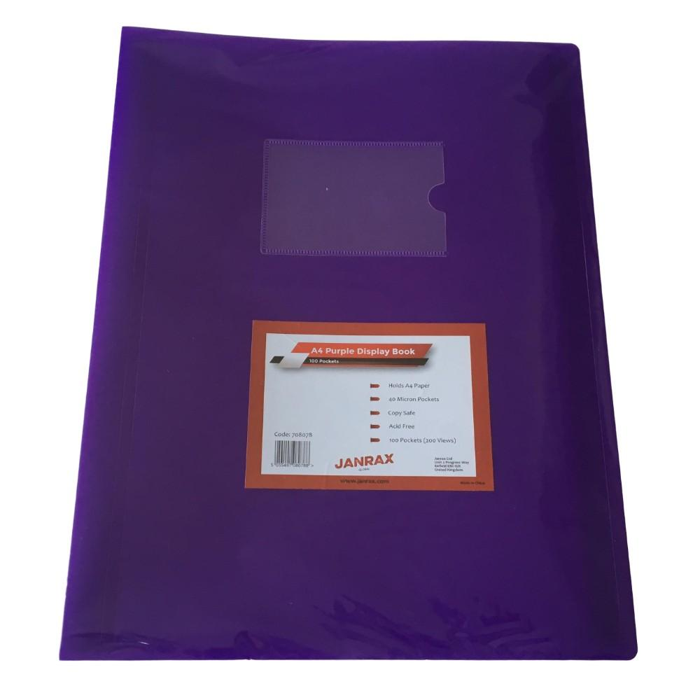 A4 Purple Flexible Cover 100 Pocket Display Book