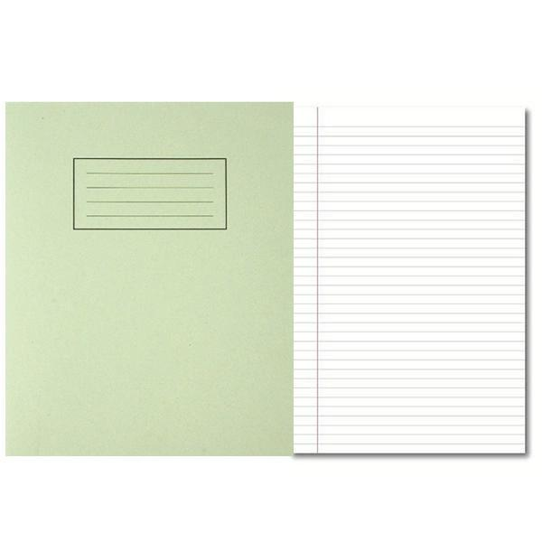 Pack of 100 229x178mm Green Exercise Books 80 Pages - Feint Ruled with Margin