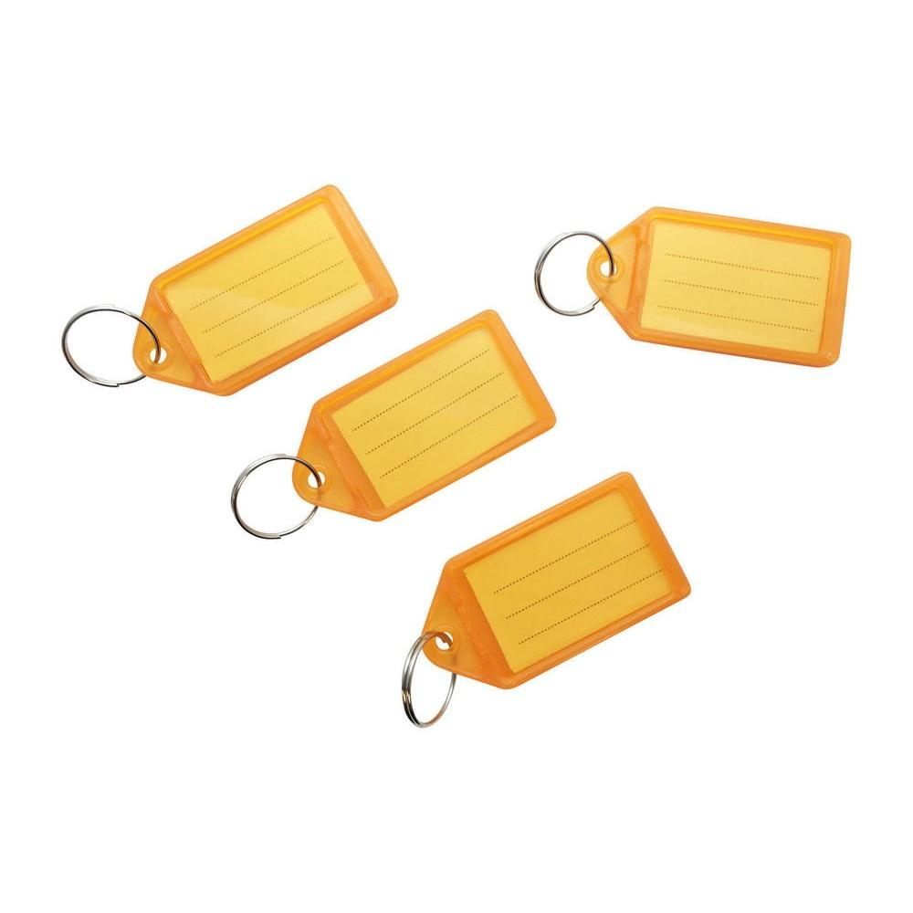 Pack of 50 Large Orange Identity Tag Key Rings - Sliding Fob Keyrings Coloured