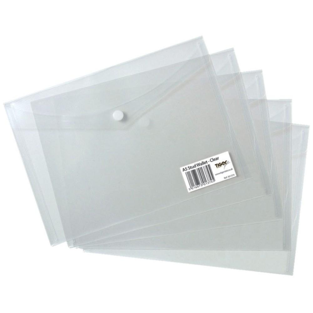 5 x A5 Stud Wallets-Clear
