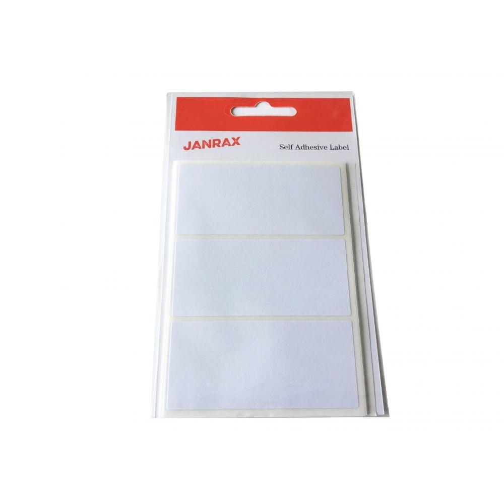 Pack of 21 White 34x75mm Rectangular Labels - Adhesive Stickers