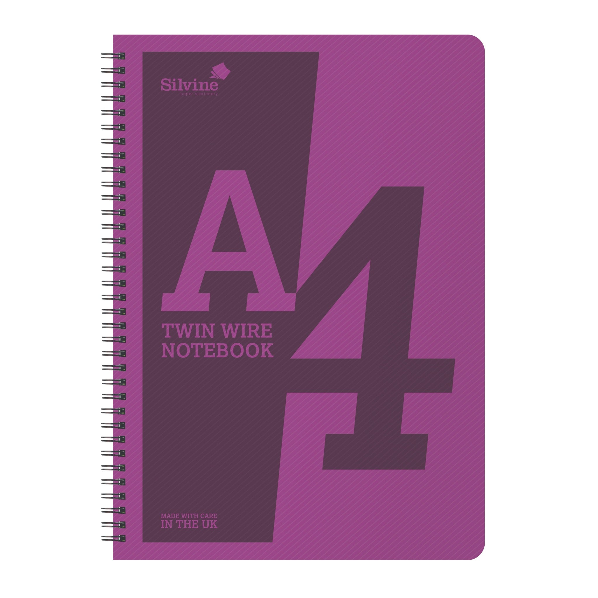 A4 Twin Wirebound Purple Plastic Front Notebook 160 Pages