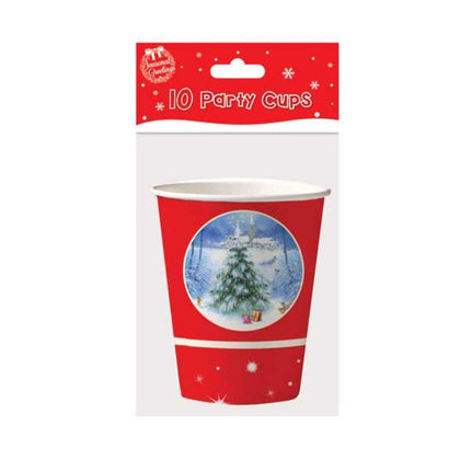 10 9oz Cups Traditional Christmas
