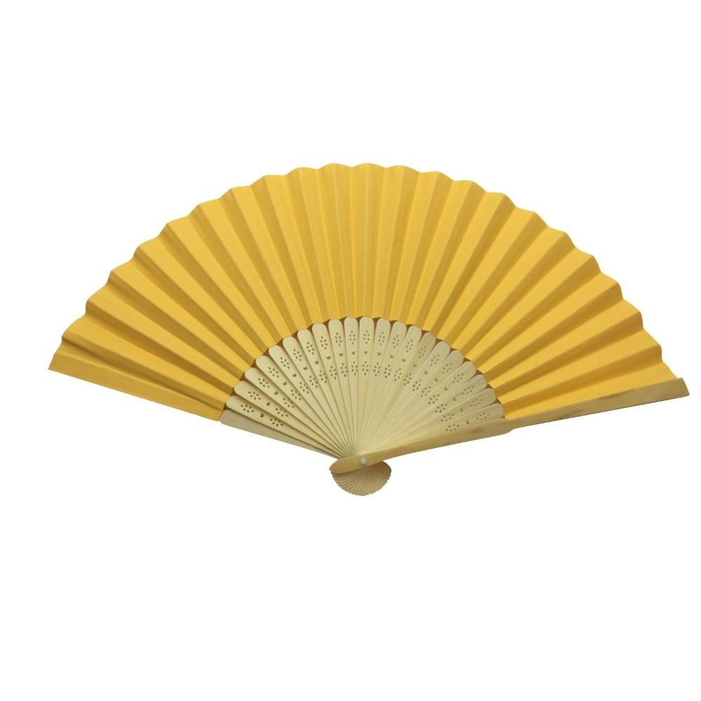Orange Paper Hand Held Bamboo and Wooden Fan