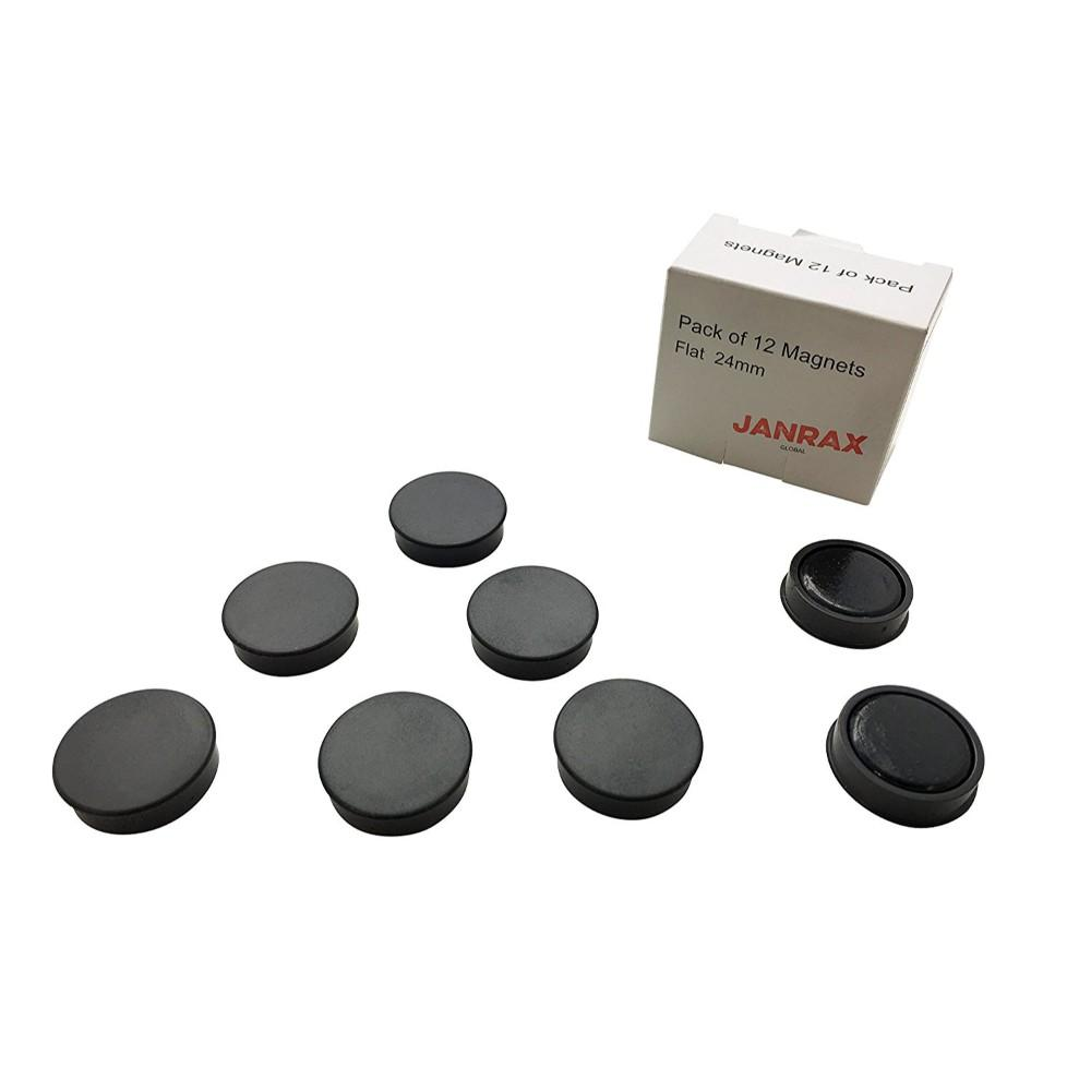 Pack of 12 Black 24mm Magnets