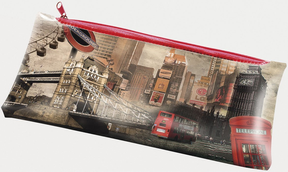 Vintage London Design Flat Pencil Case