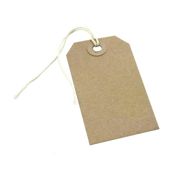 Box of 1000 Brown Buff Strung Tags 82mm x 41mm