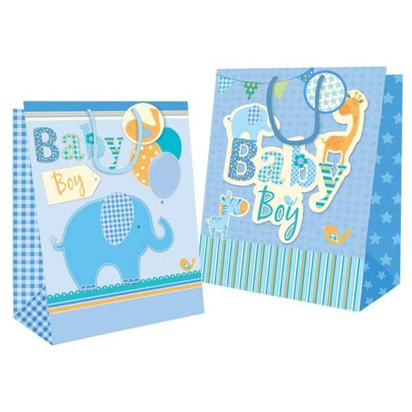 Pack of 12 Extra Large Baby Boy Design Gift Bags