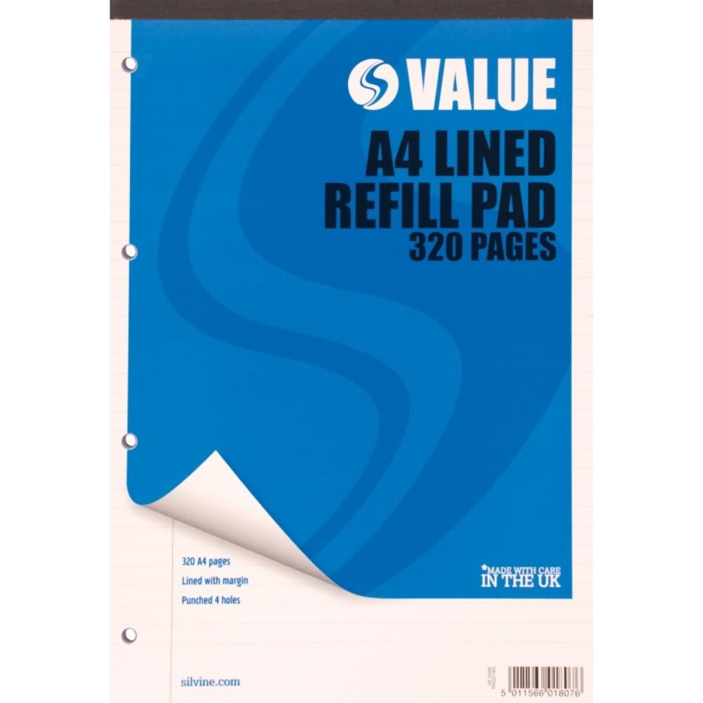 Value A4 Refill Pad - Lined with Margin 320 Pages