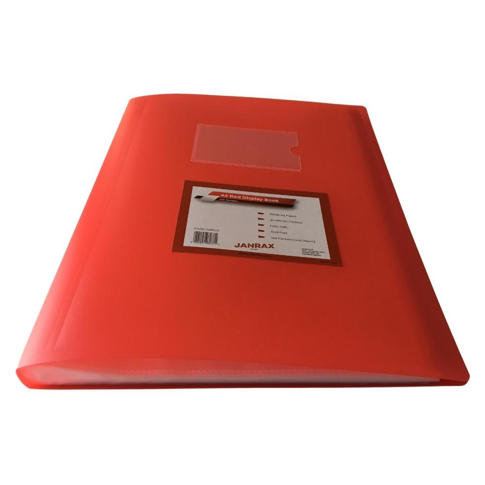 A4 Red Flexible Cover 100 Pocket Display Book