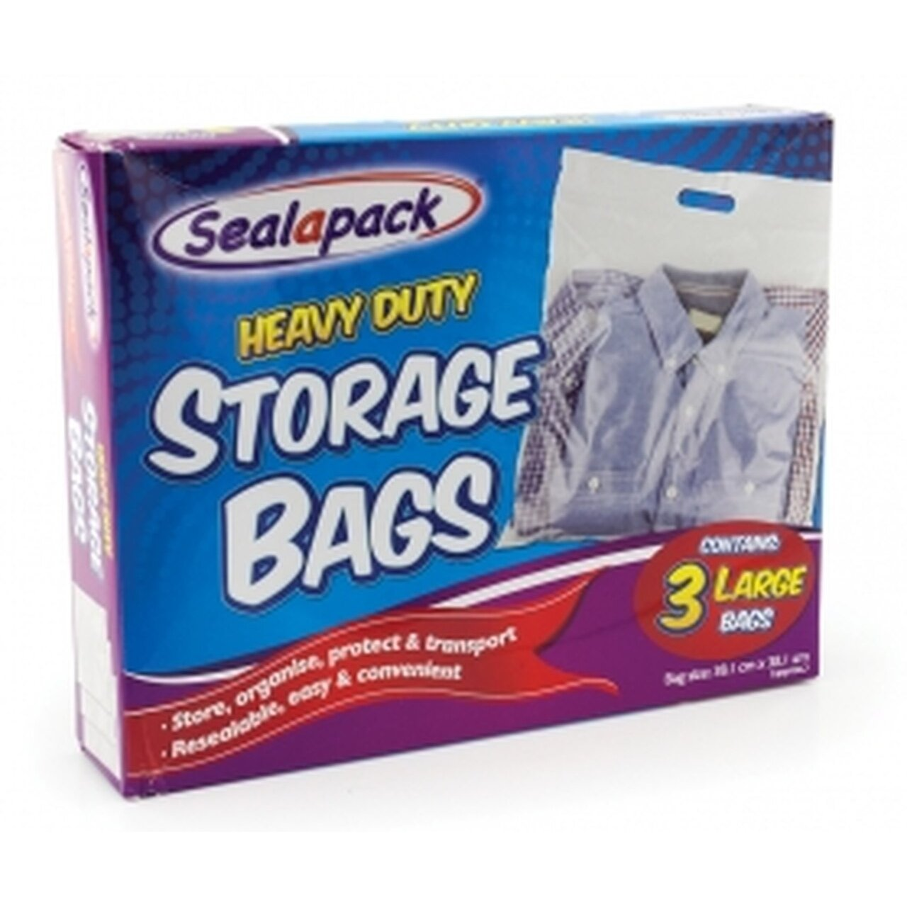 Heavy Duty Storage Bag - Large (3 Pack)