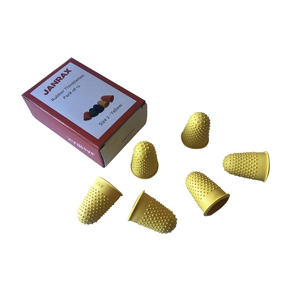 Pack of 12 Yellow No.2 Rubber Thimblettes - Large Thimble Finger Cones