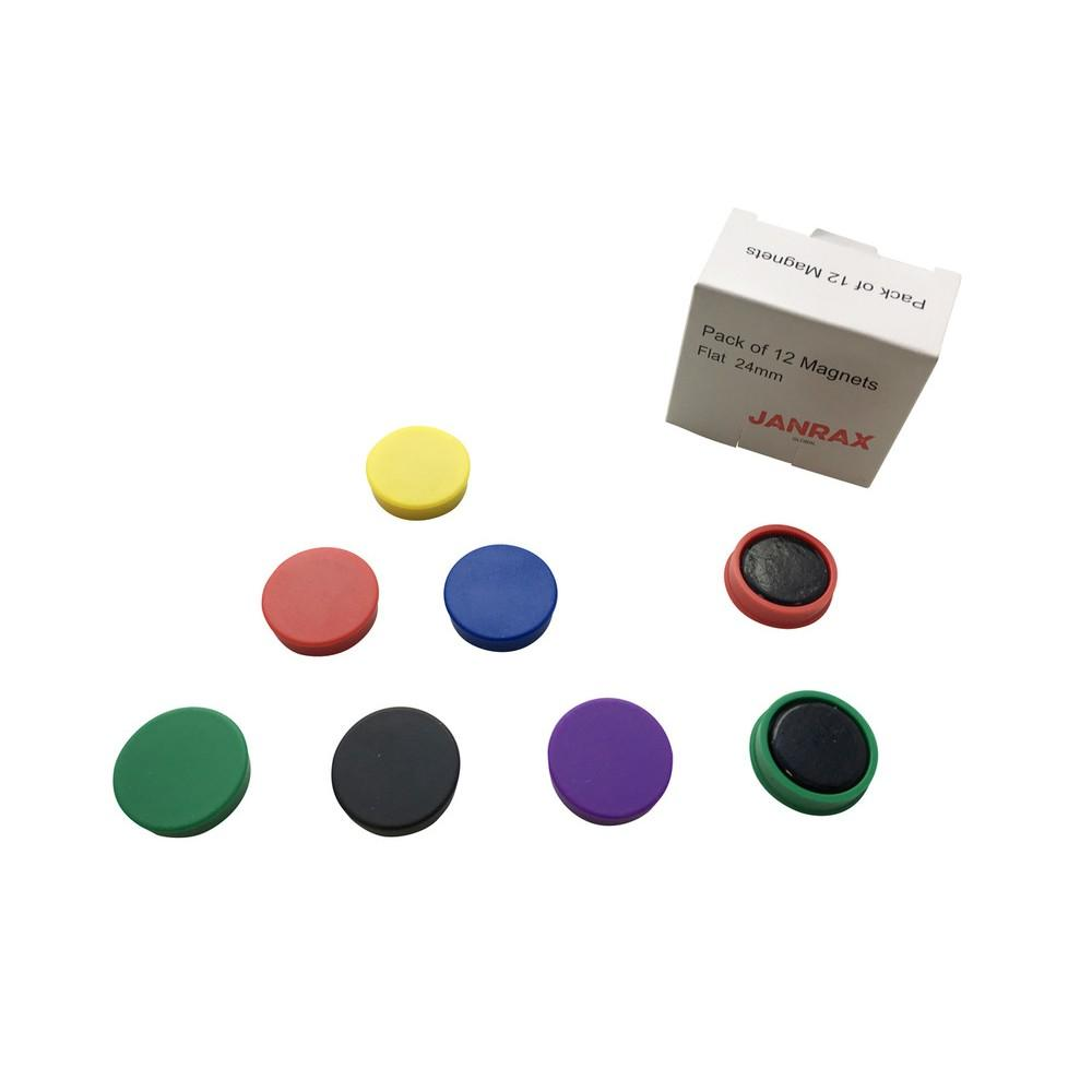 Pack of 12 Assorted Coloured 24mm Magnets