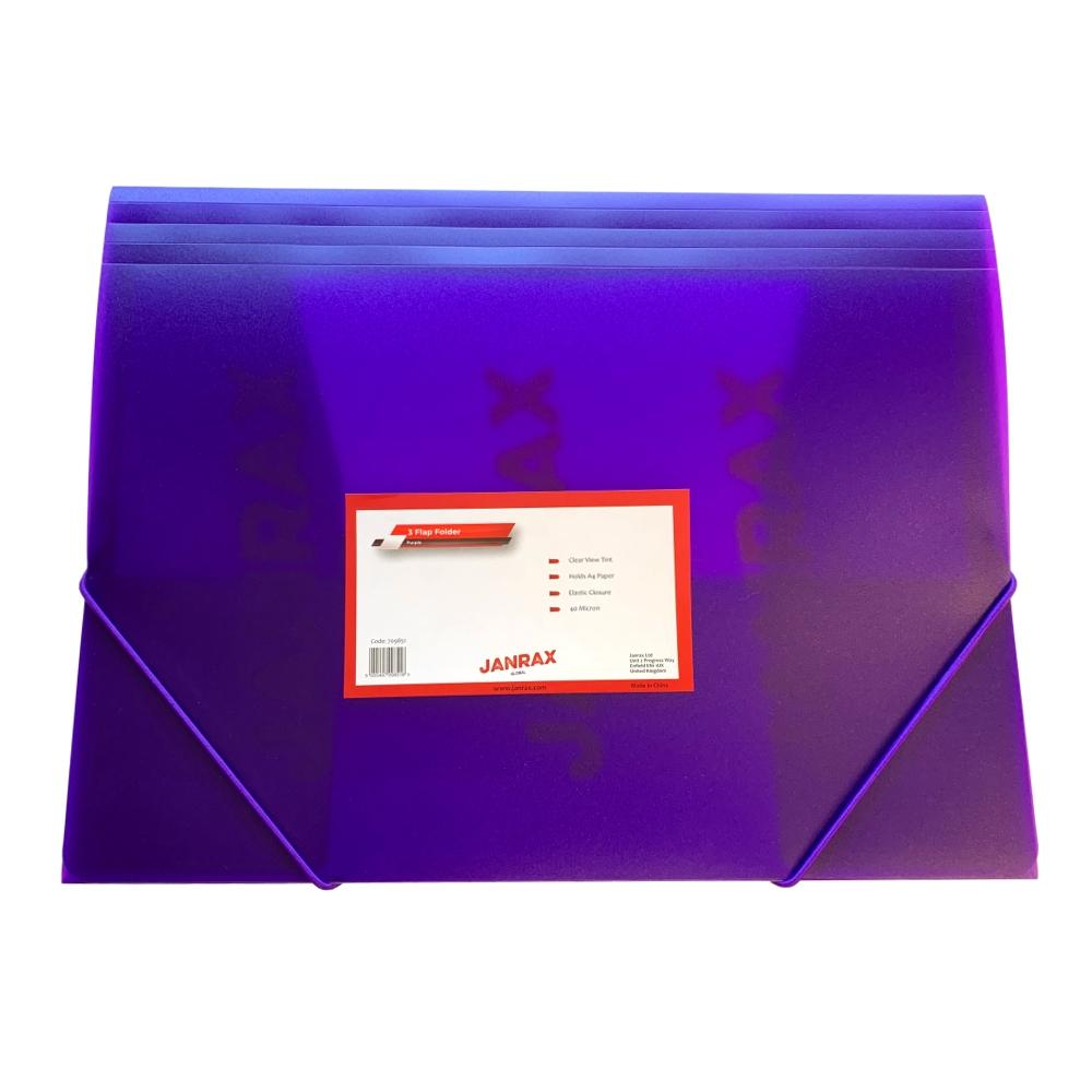Janrax A4 Clearview Purple 3 Flap Folder with Elasticated Closure