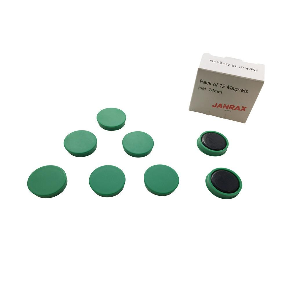Pack of 12 Green 24mm Magnets