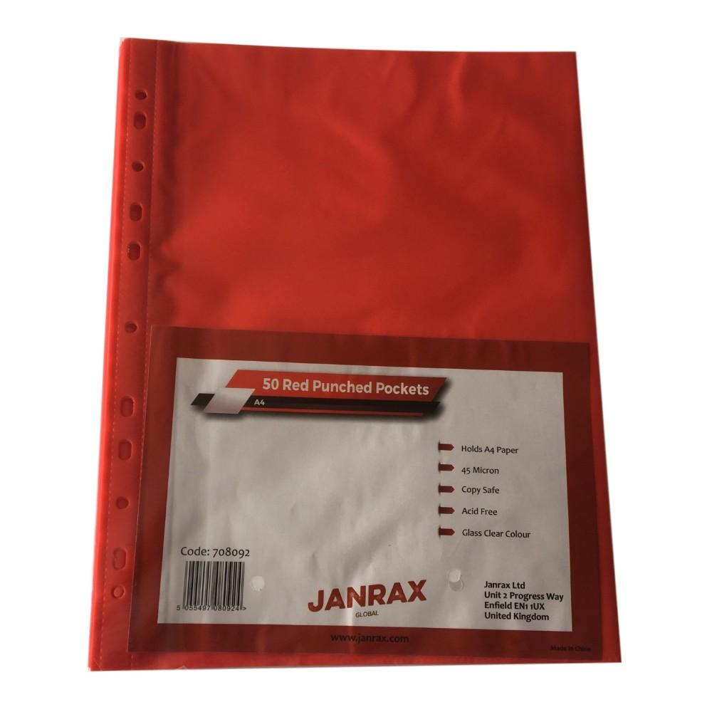 Pack of 50 A4 Red Punched Pockets by Janrax