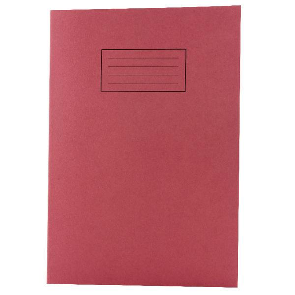 Pack of 100 A4 Red Exercise Books 80 Pages - Feint Ruled with Margin