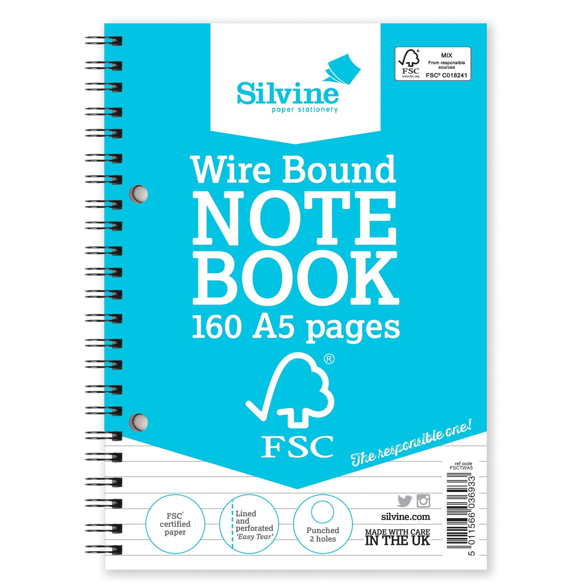 A5 FSC Certified Wirebound Notebook 160 Pages
