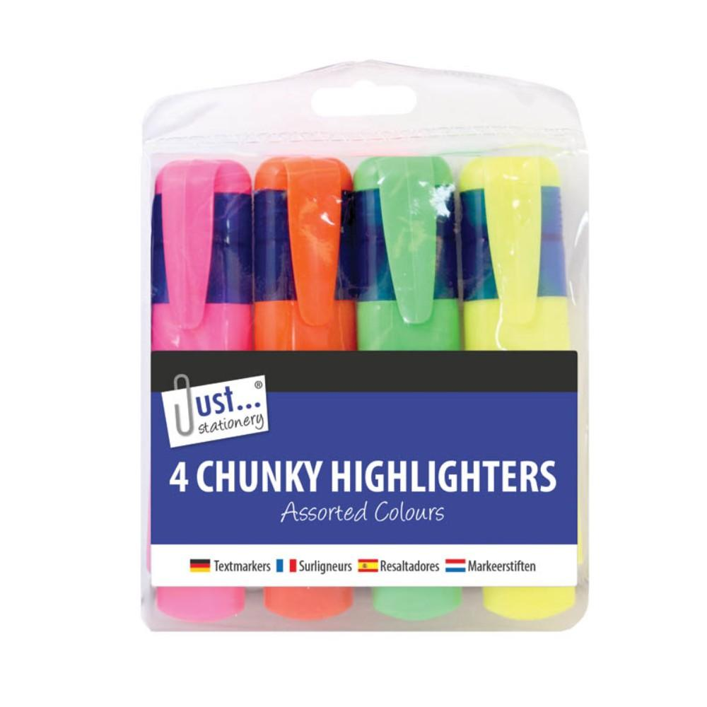 4 Chunky Highlighters Assorted Colours