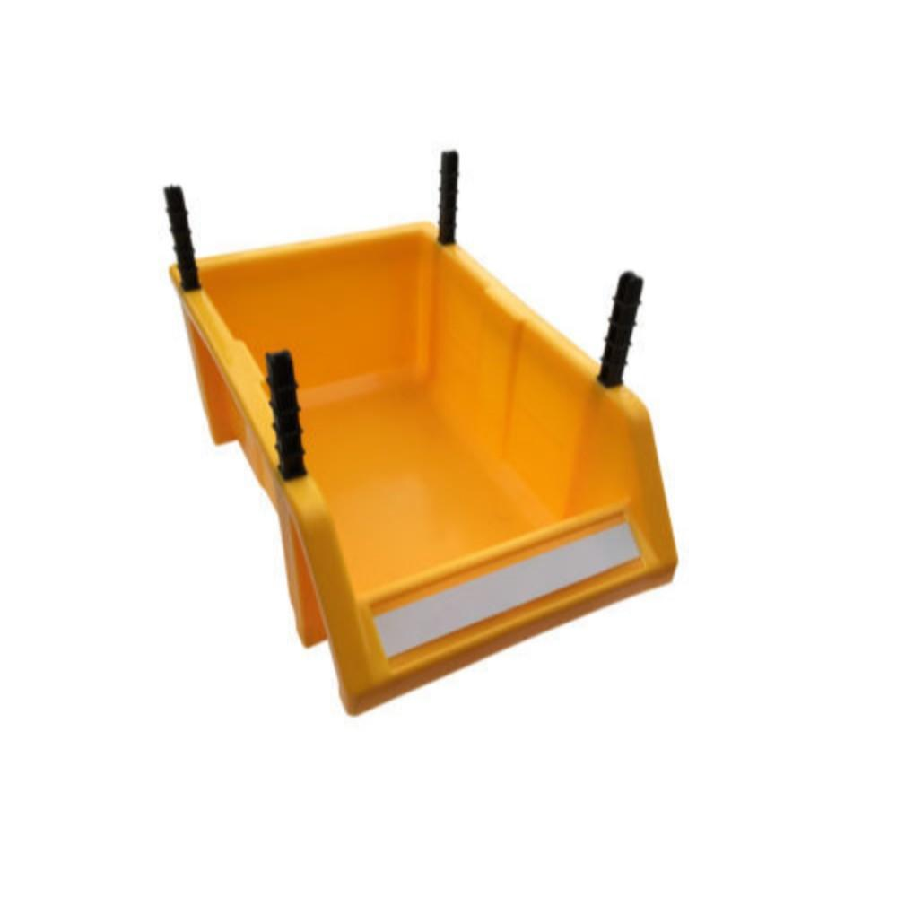 Stackable Yellow Storage Picking Bin with 4 Riser Stands and Label