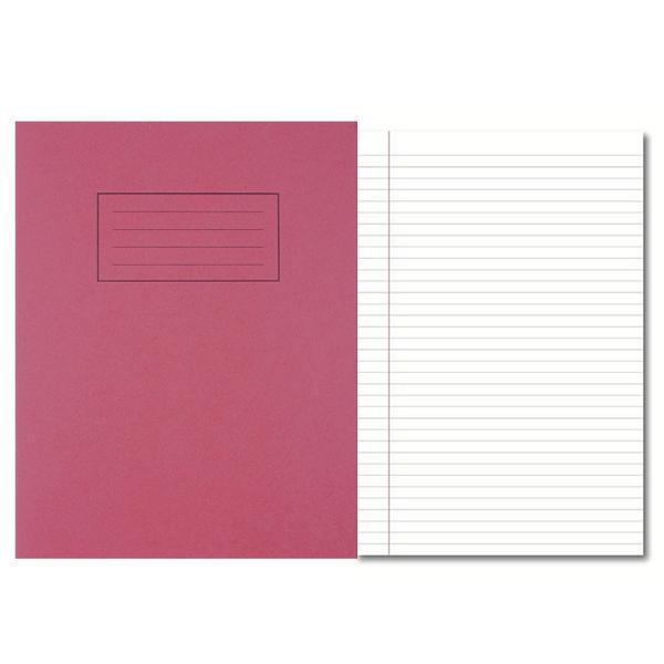 Pack of 100 229x178mm Red Exercise Books 80 Pages - Feint Ruled with Margin