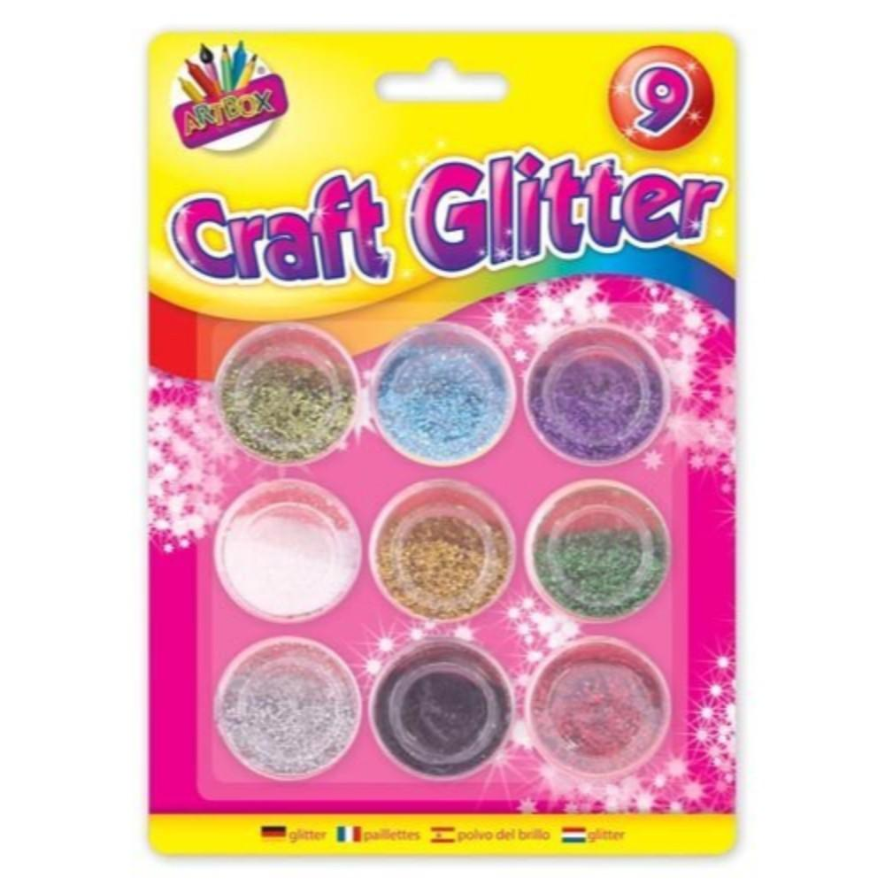 Pack of 9 Metallic Colour Glitter Pots