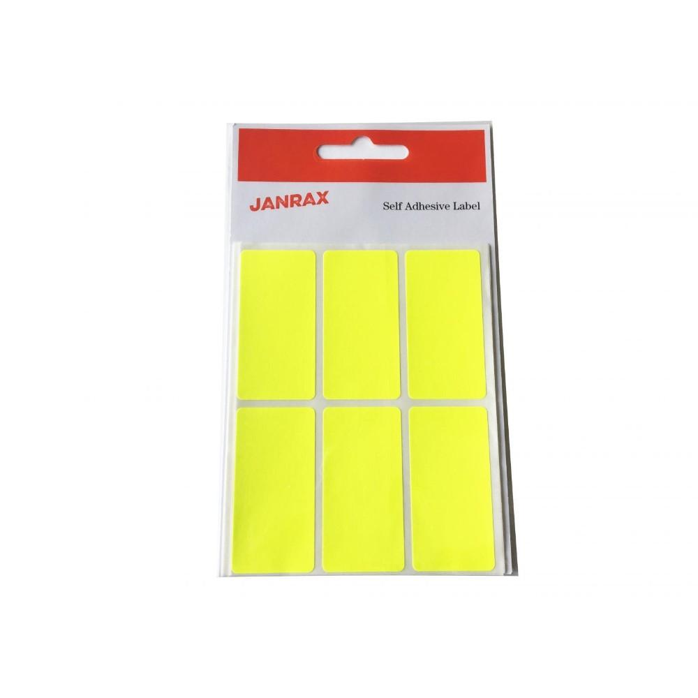 Pack of 24 Fluorescent Yellow 25x50mm Rectangular Labels - Adhesive Stickers