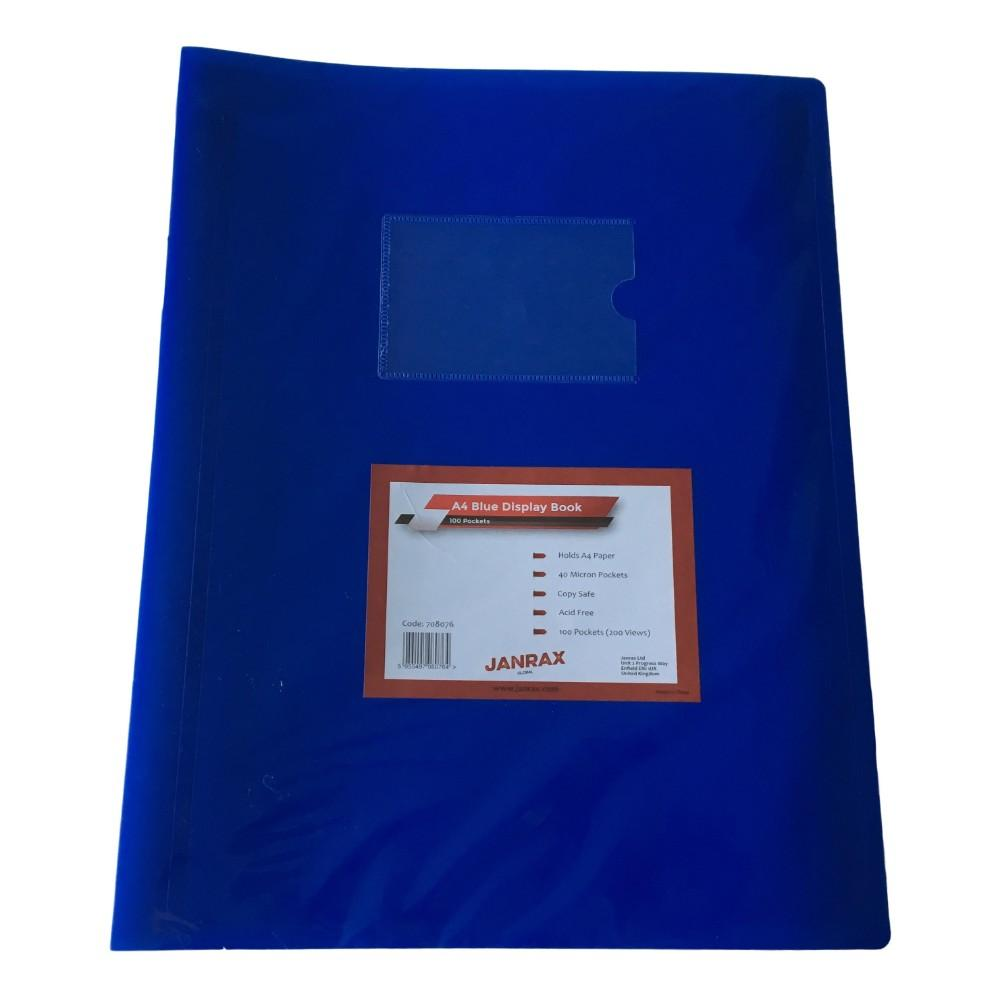 A4 Blue Flexible Cover 100 Pocket Display Book